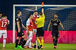 Oliver Giroiud #12 of Arsenal F.C. received red card during football match between GNK Dinamo Zagreb, CRO and Arsenal FC, ENG in Group F of Group Stage of UEFA Champions League 2015/16, on September 16, 2015 in Stadium Maksimir, Zagreb, Croatia. Photo by Ziga Zupan / Sportida