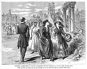 "Civil War: Richmond, Virginia Ladies going to receive government rations ""Don't you think that Yankee must feel like shrinking in his boots before such high-toned Southern ladies as we?"" Harper's Weekly, Saturday June 3, 1865."