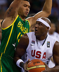 30.08.2010, Abdi Ipekci Arena, Istanbul, TUR, 2010 FIBA World Championship, USA vs Brasil, im Bild .Joao Paulo Batista of Brasil vs Lamar Odom of USA during the Preliminary Round - Group B basketball match. EXPA Pictures © 2010, PhotoCredit: EXPA/ Sportida/ Vid Ponikvar *** ATTENTION *** SLOVENIA OUT!
