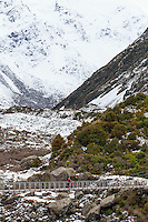 A suspension bridge on the Hooker Valley Track in Mt Cook National Park, South Island, New Zealand