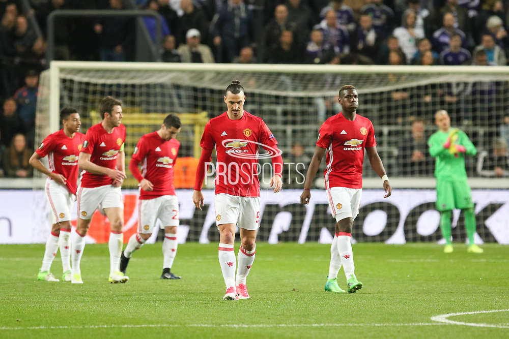 Zlatan Ibrahimovic Forward of Manchester United and Paul Pogba Midfielder of Manchester United after Henrikh Mkhitaryan Midfielder of Manchester United goal 0-1 during the UEFA Europa League Quarter-final, Game 1 match between Anderlecht and Manchester United at Constant Vanden Stock Stadium, Anderlecht, Belgium on 13 April 2017. Photo by Phil Duncan.