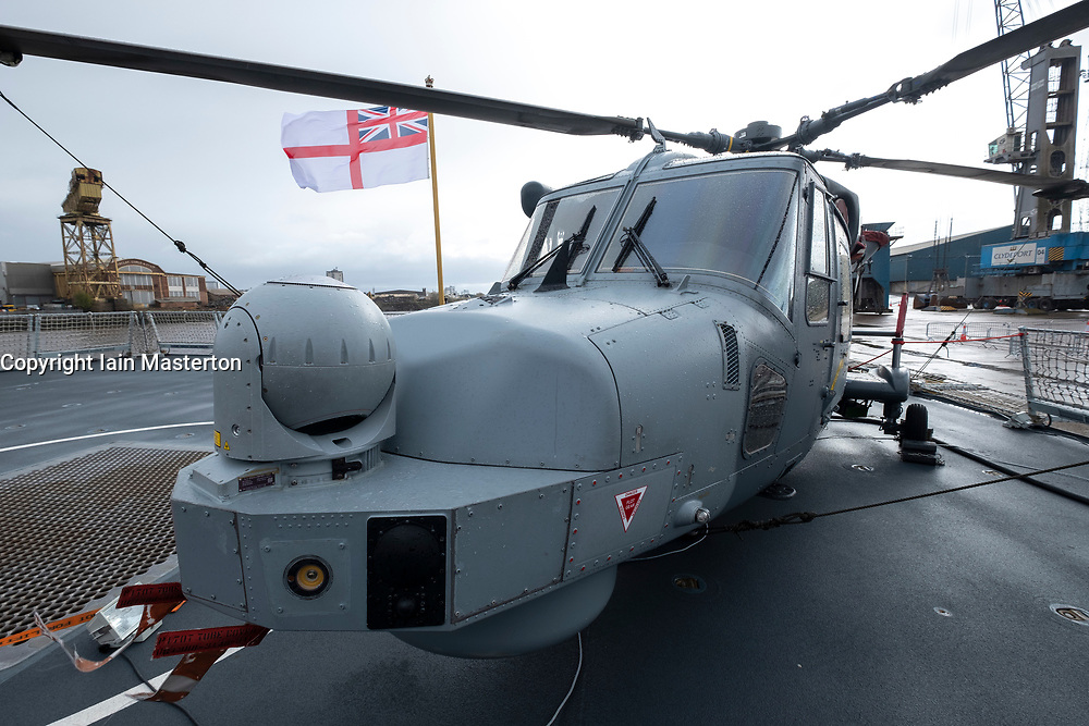 24 March, 2109, Glasgow, Scotland, UK. HMS Defender Type 45 Destroyer berthed at dock in Govan during visit to Glasgow, Scotland, UK. Pictured Lynx Wildcat helicopter