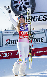19.01.2013, Olympia delle Tofane, Cortina d Ampezzo, ITA, FIS Weltcup Ski Alpin, Abfahrt, Damen, Podium, im Bild Lindsey Vonn (USA, Platz 1) // 1st place Lindsey Vonn of the USA celebrate on podium during ladies Downhill of the FIS Ski Alpine World Cup at the Olympia delle Tofane course, Cortina d Ampezzo, Italy on 2013/01/19. EXPA Pictures © 2013, PhotoCredit: EXPA/ Johann Groder