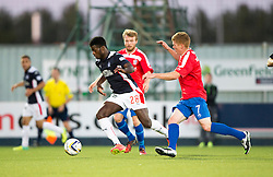 Falkirk's Botti Biabi and Cowdenbeath's Ron Robertson.<br /> Half time : Falkirk 0 v 0 Cowdenbeath, second round League Cup tie played at The Falkirk Stadium.