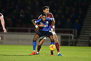 Swindon Town striker Jonathan Obika (9) battles for possession with Northampton Town defender (on loan from Barnsley) Lewin Nyatanga (22) during the EFL Sky Bet League 1 match between Northampton Town and Swindon Town at Sixfields Stadium, Northampton, England on 14 February 2017. Photo by Dennis Goodwin.
