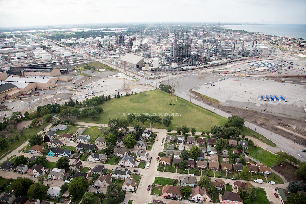 Homes on the edge of the BP Refinery outside of Chicago, IL