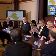 res. Bush, flanked by Sec. of State Condoleezza Rice and Deputy Sec. of Defense Gordon England, participates in a roundtable with the Iraq Provincial Reconstruction Team Leaders Thursday, March 22, 2007. <br /> <br /> Photo by Khue Bui