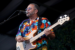 05 May 2012. New Orleans, Louisiana,  USA. .New Orleans Jazz and Heritage Festival. .George Porter of the Funky Meters..Photo; Charlie Varley.