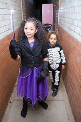 Children dressed up for Halloween,