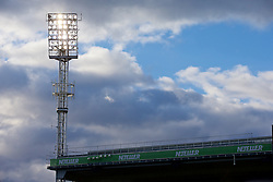 LONDON, ENGLAND - Saturday, February 21, 2015: Floodlights at Crystal Palace's Selhurst Park during the Premier League match against Arsenal. (Pic by David Rawcliffe/Propaganda)