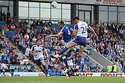 Chesterfield defender Sam Hird and Rotherham United Kiefer Moore during the Pre-Season Friendly match between Chesterfield and Rotherham United at the b2net stadium, Chesterfield, England on 25 July 2017. Photo by John Potts.