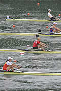 Lucerne SWITZERLAND,  W1X. Start of the first semi-final women's single sculls,  top down GER W1X. Carina BAER, RUS W1X, Julia LEVINA, BLR W1X, Ekaterina KARSTEN, CHN W1X, Xiuyun ZHANG, SWE W1X, Frida SVENSSON, at the   2011 FISA World Cup on the Lake Rotsee.  15:36:24  Saturday   09/07/2011   [Mandatory Credit Peter Spurrier/ Intersport Images]