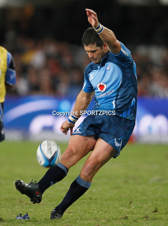 Morne Steyn kicks a penalty during the Super 15 match between the Sharks and the Bulls played in Durban on the 21 May 2011..Photo by: SPORTZPICS