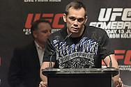 "COLOGNE, GERMANY, JUNE 11, 2009: Rich Franklin addresses the media from the podium during the pre-fight press conference for ""UFC 99: The Comeback"" inside the Hyatt Regency Hotel in Cologne, Germany on June 11, 2009."