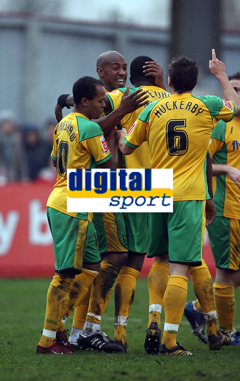 Photo: Rich Eaton.<br /> <br /> Tamworth FC v Norwich City. The FA Cup. 06/01/2007. Dion Dublin (2nd left) of Norwich celebrates his goal after making the score 4-0 in the second half