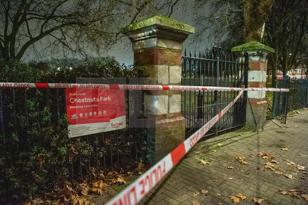 © Licensed to London News Pictures. 05/12/2019. London, UK. A police cordon at the Black Boy Lane entrance of Chestnuts Park where a 14-year-old girl was allegedly raped. The victim was allegedly approached by a man who tried to engage her in conversation before raping her. The victim later alerted a family member who called police at 19:10 GMT on Thursday, 5 December 2019. Photo credit: Peter Manning/LNP