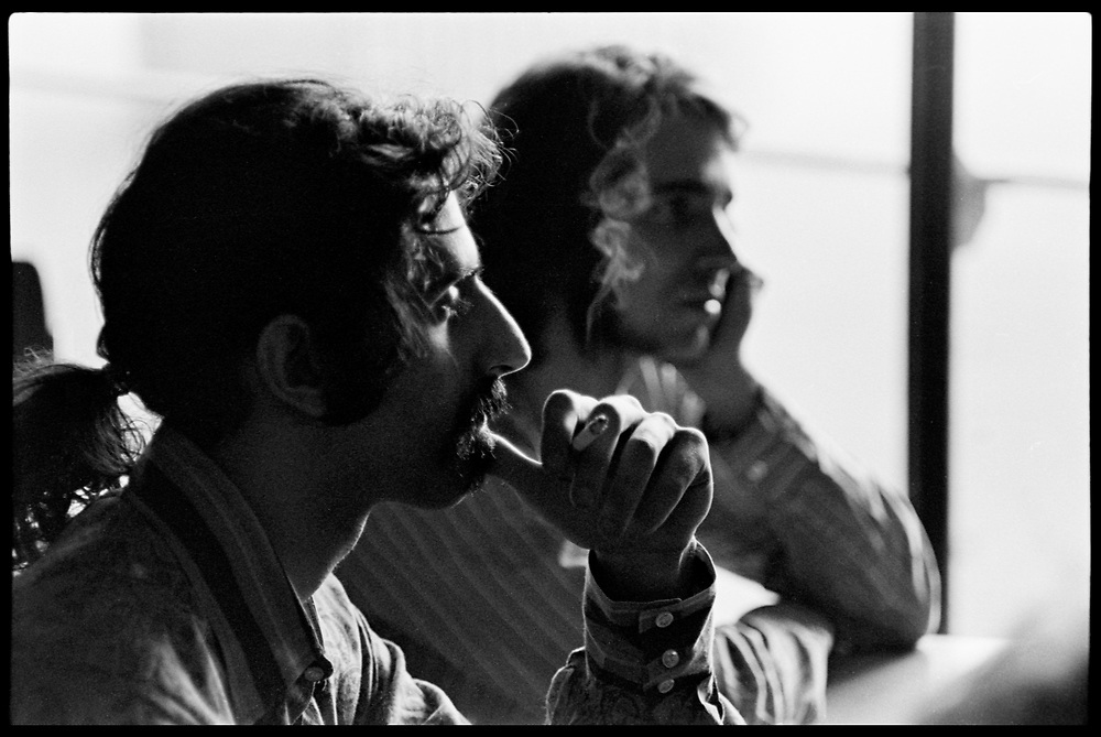 Fall River, Massachusetts - 18 February 1968. Frank Zappa (foreground) and Ian Underwood of The Mothers of Invention prior to a performance.<br />