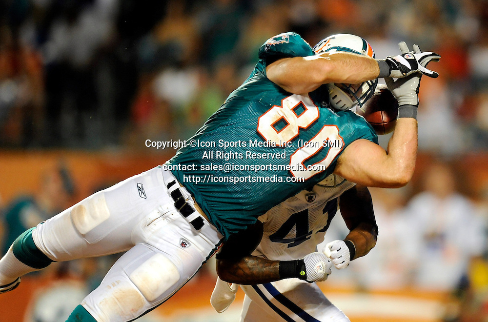 21 September 2009: Indianapolis Colts Antoine Bethea (41) breaks up a pass intended for Miami Dolphins Anthony Fasano (80) during  the game at Land Shark Stadium in Miami, Florida.