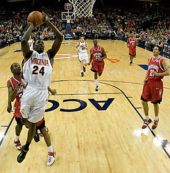 Virginia's Mamadi Diane (24) leaps to the basket against Maryland.  Diane had a career-high 26 points as the Cavaliers defeated the #22 ranked Terrapins 103-91 at the John Paul Jones Arena in Charlottesville, VA on January 16, 2007.