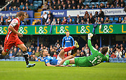Portsmouths Adam McGurk opens the scoring during the The FA Cup match between Portsmouth and Macclesfield Town at Fratton Park, Portsmouth, England on 7 November 2015. Photo by Adam Rivers.