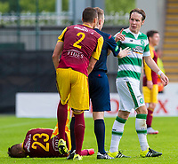 04/07/15 PRE-SEASON FRIENDLY<br /> CELTIC V DUKLA PRAGUE<br /> ST MIRREN PARK - PAISLEY<br /> Tempers flare after Stefan Johansen (right) leaves Dukla's Ondrej Vrzal in a heap