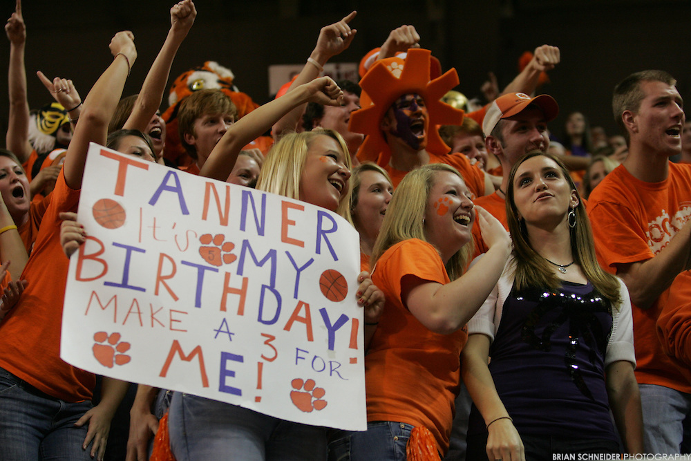Jan 13, 2010; Clemson, SC, USA; Clemson Tigers fans hold a sign for guard Tanner Smith (not pictured) against the North Carolina Tar Heels during the second half at Littlejohn Coliseum. Mandatory Credit: Brian Schneider-www.ebrianschneider.com