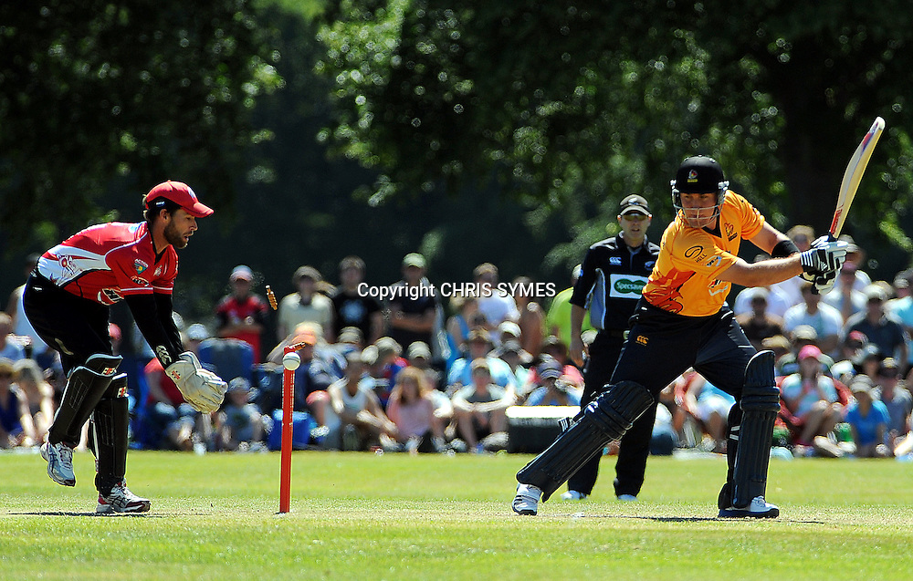 Wellington player Rory Hamilton-Brown is bowled by Canterbury`s Matt Henry during the HRV Cup Twenty20 match. Canterbury Wizards v Wellington Firebirds, Hagley Park Oval, Christchurch. Sunday 15 January 2012. Credit Chris Symes/www.photosport.co.nz
