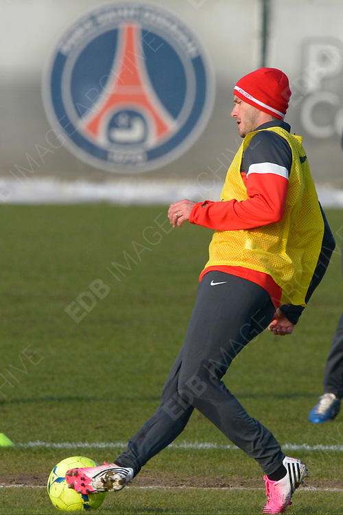 13.FEBRUARY.2013. SAINT GERMAIN EN LAYE<br /> <br /> PSG'S NEW PLAYER DAVID BECKHAM DURING HIS FIRST TRAINING SESSION IN CAMP DES LOGES, SAINT-GERMAIN-EN-LAYE<br /> <br /> BYLINE: EDBIMAGEARCHIVE.CO.UK<br /> <br /> *THIS IMAGE IS STRICTLY FOR UK NEWSPAPERS AND MAGAZINES ONLY*<br /> *FOR WORLD WIDE SALES AND WEB USE PLEASE CONTACT EDBIMAGEARCHIVE - 0208 954 5968*