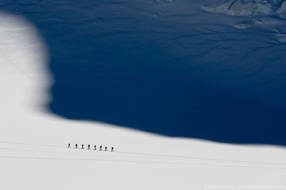 Ski touring on the Argentiere Glacier, Chamonix, France.