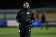 Forest Green Rovers Shawn McCoulsky(21) warming up during the EFL Sky Bet League 2 match between Forest Green Rovers and Grimsby Town FC at the New Lawn, Forest Green, United Kingdom on 22 January 2019.
