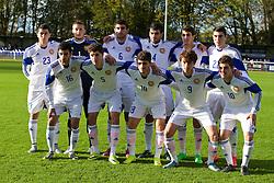 BANGOR, WALES - Friday, November 13, 2015: Armenia's players line up for a team group photograph before the UEFA Under-21 Championship Qualifying Group 5 match against Wales at Nantporth Stadium. Back row L-R: captain Artem Simonyan, goalkeeper Anatoli Aivazov, Armen Manucharyan, Aram Shakhnazaryan, Nairi Minasyan, Artur Miranyan. Front row L-R: Robert Hakobyan, Artur Kartashyan, Alik Arakelyan, Gor Malakyan, Ghukas Poghosyan. (Pic by Paul Currie/Propaganda)