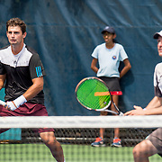 August 21, 2016, New Haven, Connecticut: <br /> Andrej Daescu and Costin Raval in action during a US Open National Playoffs match at the 2016 Connecticut Open at the Yale University Tennis Center on Sunday, August  21, 2016 in New Haven, Connecticut. <br /> (Photo by Billie Weiss/Connecticut Open)