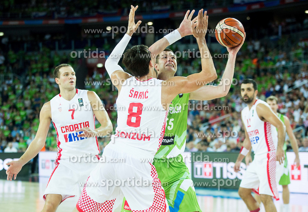 Dario Saric of Croatia vs Uros Slokar of Slovenia during basketball match between Croatia and Slovenia at Day 1 in Group C of FIBA Europe Eurobasket 2015, on September 5, 2015, in Arena Zagreb, Croatia. Photo by Vid Ponikvar / Sportida