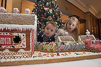 27/11/2014 Repro freeThe wonder of Christmas! Shane and Lia Corcoran Clarinbridge take a peek at Hotel Meyrick&rsquo;s stunning creation of a traditional Gingerbread train station and set which is on display in the parlour lounge until Christmas Eve when it will be donated to the St Bernadette&rsquo;s children&rsquo;s ward at University College hospital Galway, www.hotelmeyrick.ie. <br />  . Photo:Andrew Downes