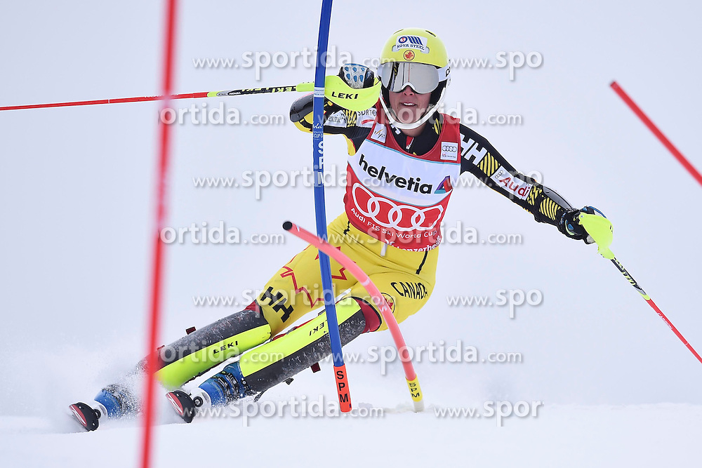 13.03.2016, Pista Silvano Beltrametti, Lenzerheide, SUI, FIS Weltcup Ski Alpin, Lenzerheide, Superkombination, Slalom, Damen, im Bild Marie-Michele Gagnon (CAN) // during ladie's Supercombi, Slalom Race of Lenzerheide FIS Ski Alpine World Cup at the Pista Silvano Beltrametti in Lenzerheide, Switzerland on 2016/03/13. EXPA Pictures &copy; 2016, PhotoCredit: EXPA/ Freshfocus/ Manuel Lopez<br /> <br /> *****ATTENTION - for AUT, SLO, CRO, SRB, BIH, MAZ only*****