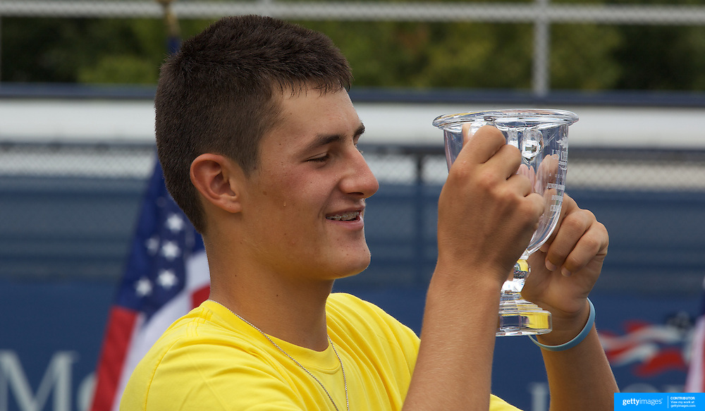 Bernard Tomic, Australia, winning the Boy's Juniors Singles Title defeating Chase Buchanan, USA, in straight sets at  the US Open Tennis Tournament at Flushing Meadows, New York, USA, on Sunday, September 13, 2009. Photo Tim Clayton.