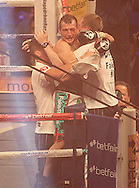 Picture by Richard Gould/Focus Images Ltd +44 7855 403186<br /> 13/07/2013<br /> Derry Mathews celebrates the win with his team fight for the vacant Commonwealth Lightweight title at Craven Park, Hull.
