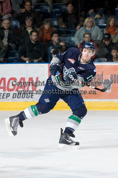 KELOWNA, CANADA, FEBRUARY 8: Shea Theodore #17 of the Seattle Thunderbirds takes a shot as the Seattle Thunderbirds visit the Kelowna Rockets on February 8, 2012 at Prospera Place in Kelowna, British Columbia, Canada (Photo by Marissa Baecker/www.shootthebreeze.ca) *** Local Caption ***