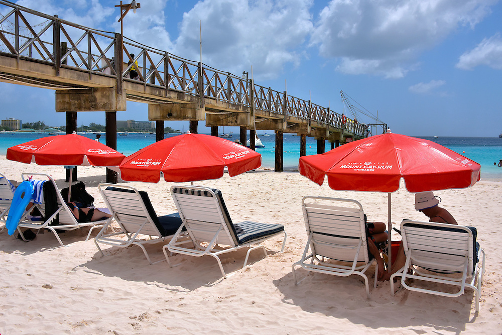 Mount Gay Umbrellas at Carlisle Bay Beach in Bridgetown, Barbados <br />