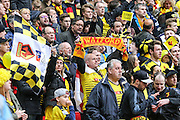 Watford fans during the The FA Cup match between Crystal Palace and Watford at Wembley Stadium, London, England on 24 April 2016. Photo by Shane Healey.