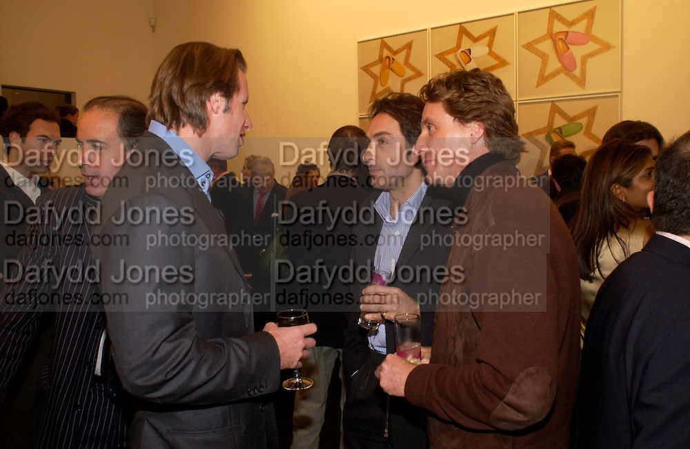 Chris Getty, Bobby Hashemi and Tim Attias, Matthew Mellon celebrates Famous Feet, Hamiltons Gallery. 22 November 2004. SUPPLIED FOR ONE-TIME USE ONLY> DO NOT ARCHIVE. © Copyright Photograph by Dafydd Jones 66 Stockwell Park Rd. London SW9 0DA Tel 020 7733 0108 www.dafjones.com