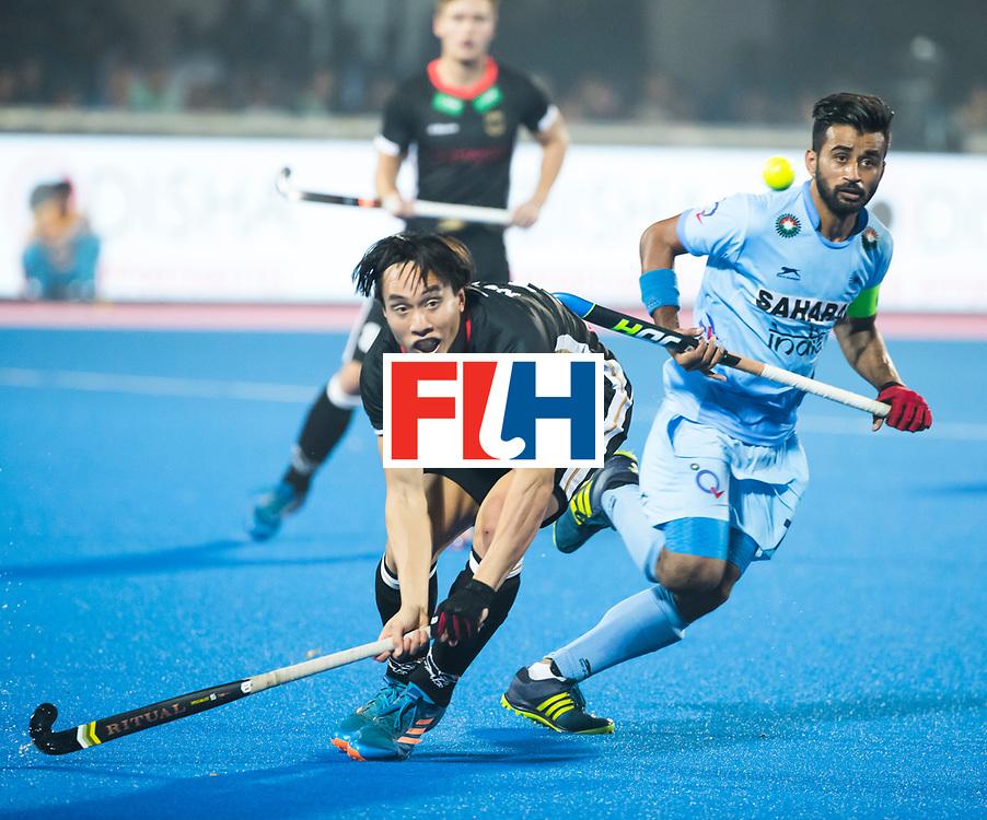 BHUBANESWAR - The Odisha Men's Hockey World League Final . Dan Nguyen (Ger) with Manpreet Singh (Ind)  during  the match India v Germany. WORLDSPORTPICS COPYRIGHT  KOEN SUYK