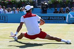 June 24, 2018 - London, England, United Kingdom - Novak Djokovic (SRB) in action .during Fever-Tree Championships Final match between Marin Cilic (CRO) against Novak Djokovic (SRB) at The Queen's Club, London, on 24 June 2018  (Credit Image: © Kieran Galvin/NurPhoto via ZUMA Press)