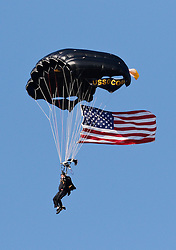 Nov 15, 2014; Tuscaloosa, AL, USA; The USSOCOM paratrooper skydives into   Bryant-Denny Stadium prior to the Alabama Crimson Tide and Mississippi State Bulldogs game. Mandatory Credit: Marvin Gentry