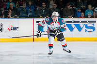 KELOWNA, CANADA - MARCH 11: Joe Gatenby #28 of Kelowna Rockets skates against the Victoria Royals  on March 11, 2015 at Prospera Place in Kelowna, British Columbia, Canada.  (Photo by Marissa Baecker/Shoot the Breeze)  *** Local Caption *** Joe Gatenby;