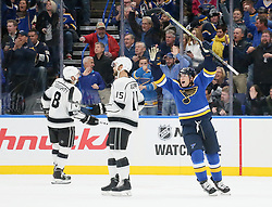 October 30, 2017 - St Louis, MO, USA - St. Louis Blues right wing Scottie Upshall, right, reacts after he assisted on a goal by defenseman Carl Gunnarsson in the second period during a game between the St. Louis Blues and the Los Angeles Kings on Monday, Oct. 30, 2017, at the Scottrade Center in St. Louis. The Blues won, 4-2. (Credit Image: © Chris Lee/TNS via ZUMA Wire)