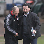 Dundee manager Paul Hartley and Hamilton boss Alex Neil pre match - Dundee v Hamilton, SPFL Championship at <br /> Dens Park<br /> <br />  - &copy; David Young - www.davidyoungphoto.co.uk - email: davidyoungphoto@gmail.com