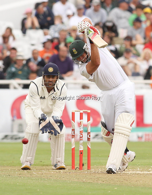 CAPE TOWN, SOUTH AFRICA - 2 January 2011, Jacques Kallis of South Africa plays a straight drive during day 1 of the 3rd Castle Test between South Africa and India held at Sahara Park Newlands Stadium in Cape Town, South Africa on the 2 January 2011 .Photo by: Shaun Roy