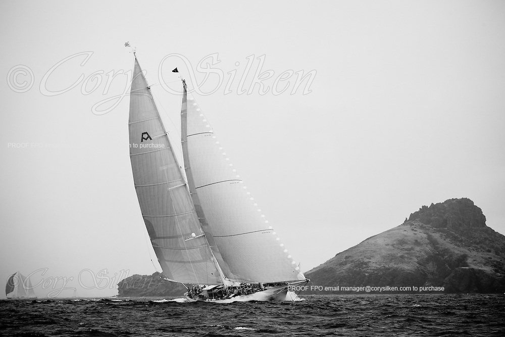 Adela sailing in the St. Barth's Bucket Regatta, day one.