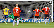 Picture by David Horn/Focus Images Ltd +44 7545 970036<br /> 03/08/2013<br /> Shaun Walley of Luton Town scores  his side's third goal from the penalty spot  to make it 3-0 during the Friendly match at Kenilworth Road, Luton.